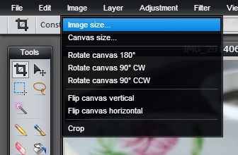 PIXLR image size